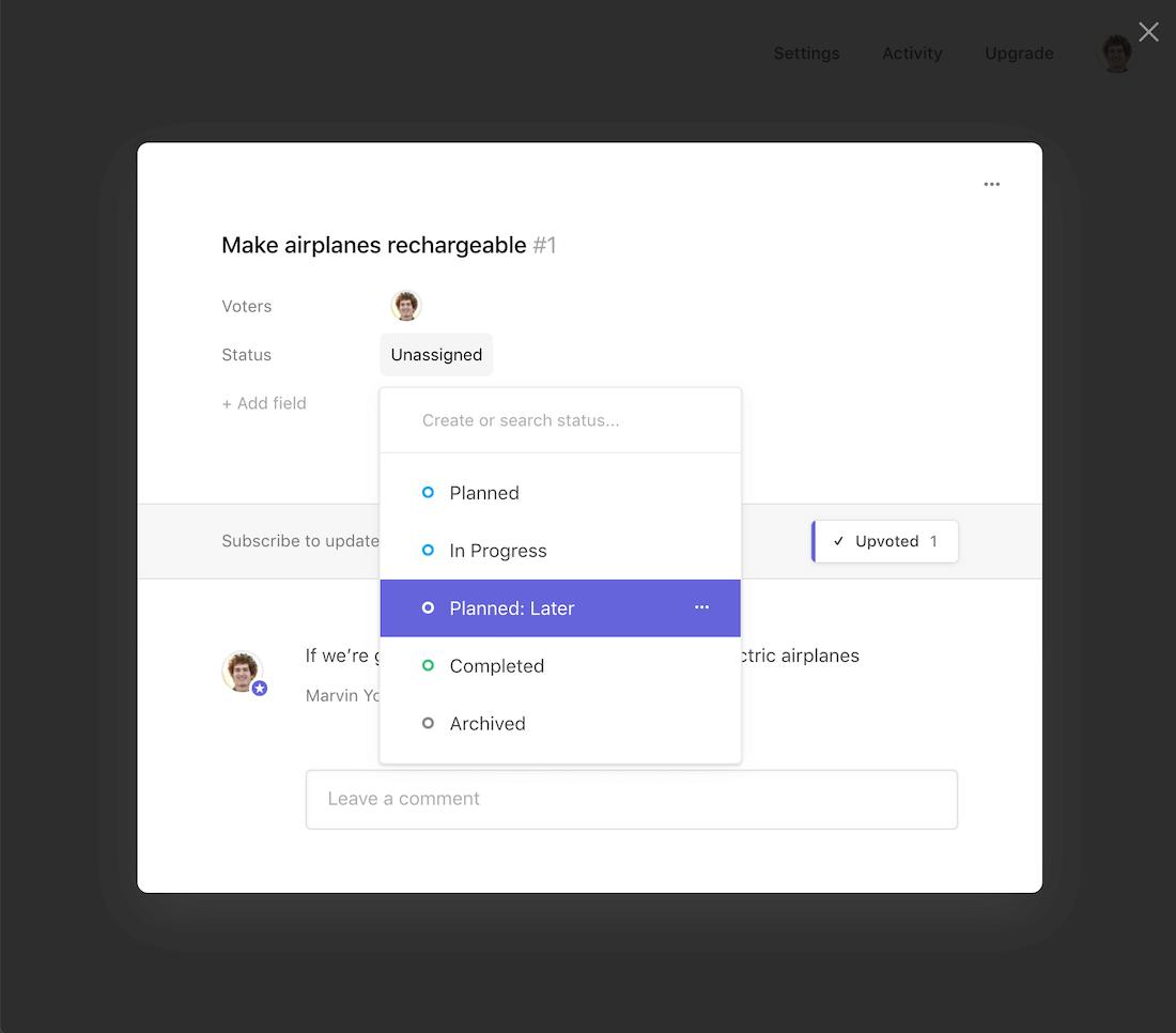 Adding a status: status created